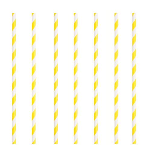 Pajitas De Papel Ecológicas A Rayas Amarillas - Paquete De 10