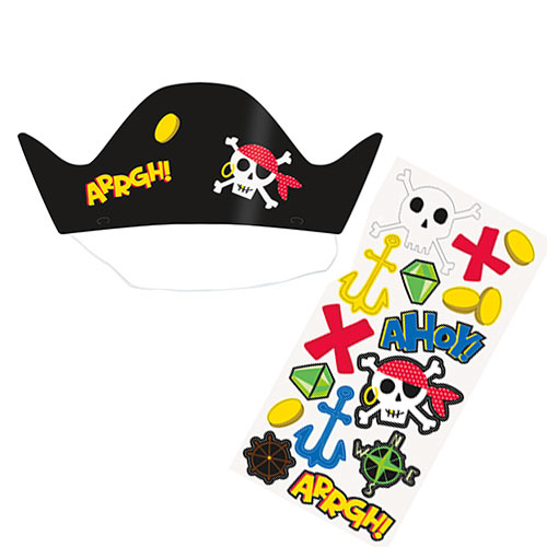 Gorros De Fiesta Personalizables Ahoy Pirate - Paquete De 8