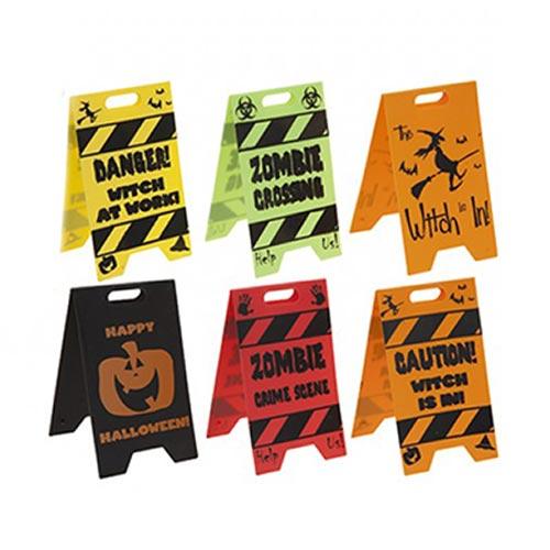 Decoración De Mesa Con Letreros De Precaución De Halloween Surtidos, Paquete De 2