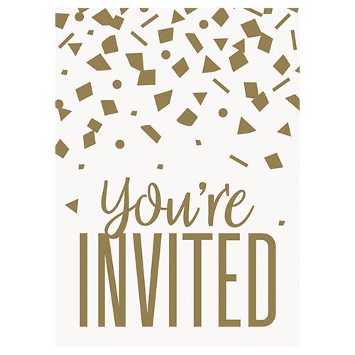 Invitaciones De Cumpleaños De Confeti Dorado Con Sobres - Paquete De 8