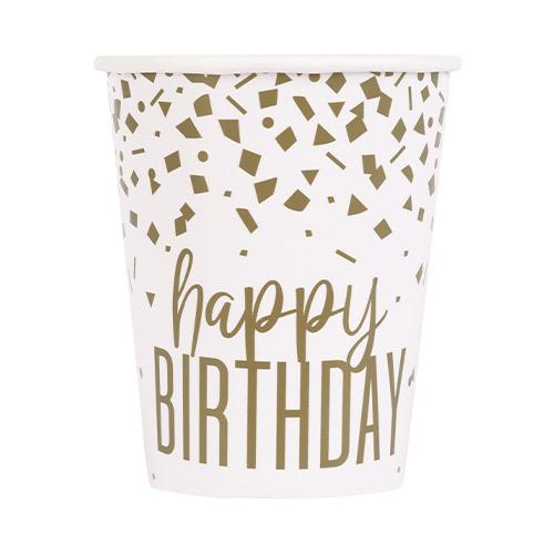 Vasos De Papel Confeti Dorado Cumpleaños 270Ml - Paquete De 8