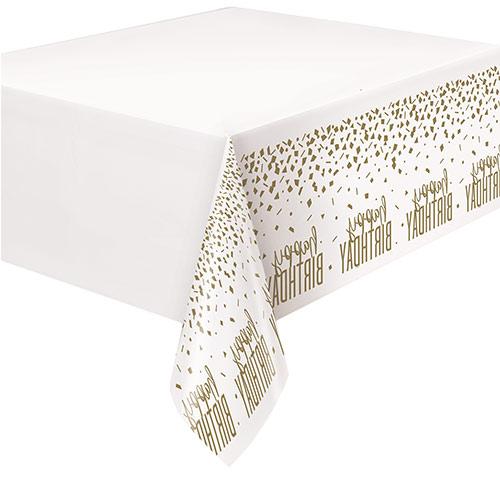 Mantel De Plástico Confeti Dorado Cumpleaños 213Cm X 137Cm
