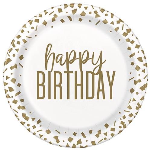 Confeti Dorado Cumpleaños Platos Redondos De Papel 22Cm - Paquete De 8
