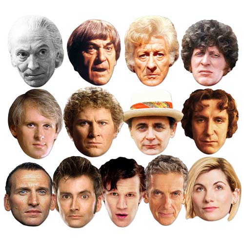 Doctor Who Complete Series Máscaras Faciales De Cartón Para Todos Los Médicos - Paquete De 13
