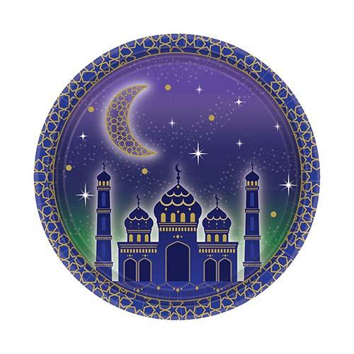 Platos De Papel Redondos Eid 18Cm - Paquete De 8