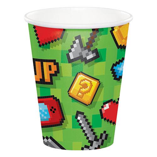 Vasos De Papel Para Fiestas De Juegos 266Ml - Paquete De 8