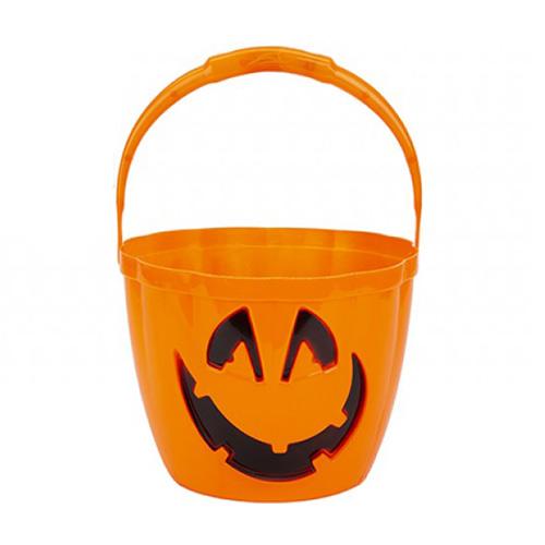 Cubo De Truco O Trato De Calabaza De Halloween Con Mango De Luz Intermitente 22Cm