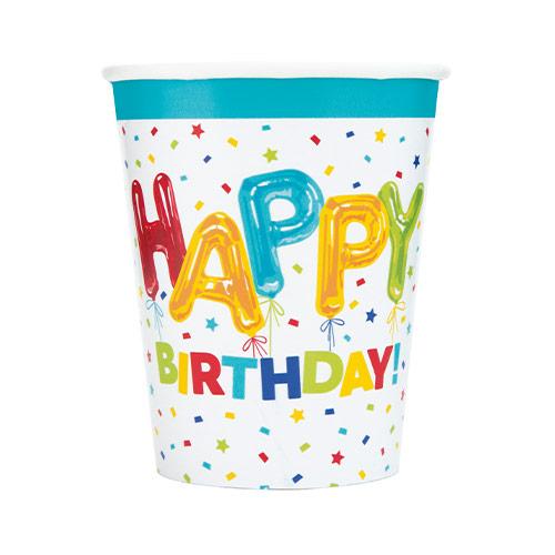 Vasos De Papel De Feliz Cumpleaños Con Globos 270Ml - Paquete De 8