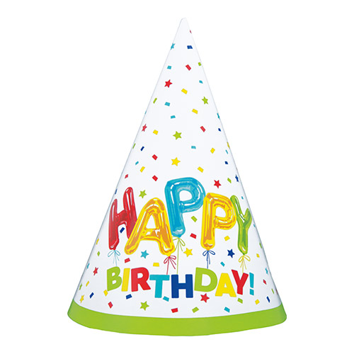 Gorros De Cono De Fiesta De Cumpleaños Con Globos Felices - Paquete De 8