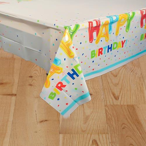 Feliz Cumpleaños Globo De Plástico Mantel 213Cm X 137Cm
