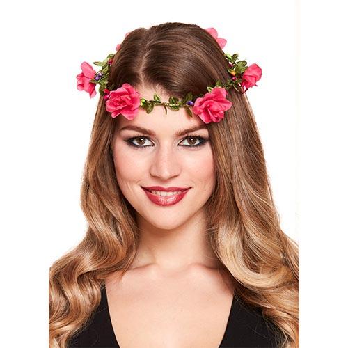 Vestido De Lujo Con Diadema De Flores De Color Rosa Intenso
