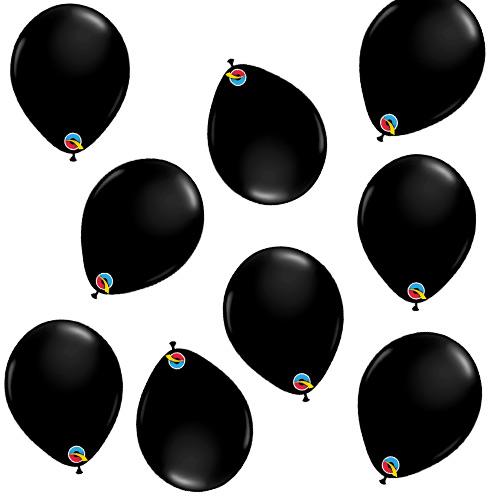 Mini Globos De Látex Qualatex Redondos Negros De 13 Cm / 5 Pulgadas - Paquete De 100