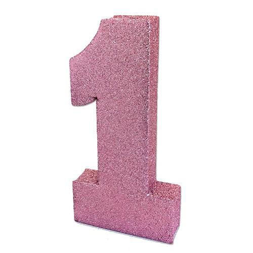 Número 1 Rosa Bebé Purpurina Decoración De Mesa 20Cm