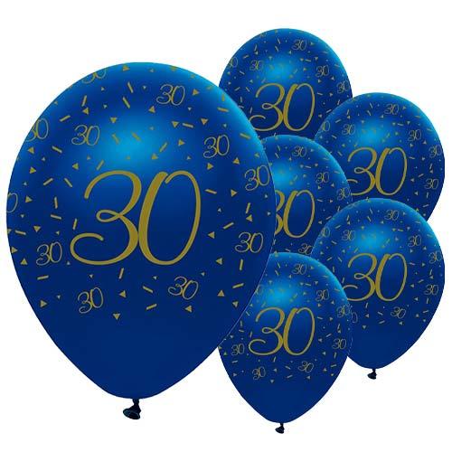 Globos De Látex Biodegradables Con Geoda Azul Marino Y Dorada, 30 Años, 30 Cm / 12 Pulgadas, Paquete De 6