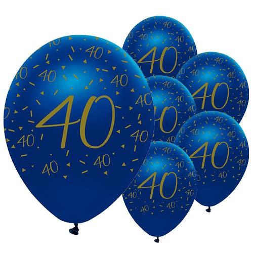 Globos De Látex Biodegradables Con Geoda Azul Marino Y Dorada De 40 Años, 30 Cm / 12 Pulgadas, Paquete De 6
