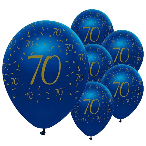 Globos De Látex Biodegradables Con Geoda Azul Marino Y Dorada Age 70 De 30 Cm / 12 Pulgadas - Paquete De 6