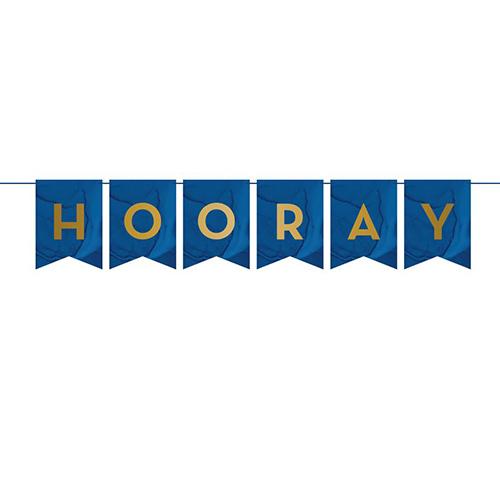 Banner De Carta De Cartón Personalizable Geoda Azul Marino Y Dorado 274Cm