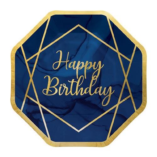 Platos De Papel De Feliz Cumpleaños Con Geoda Dorada Y Azul Marino 23Cm - Paquete De 8