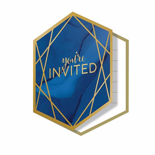 Invitaciones Laminadas Con Geoda Azul Marino Y Dorada Con Sobres - Paquete De 8