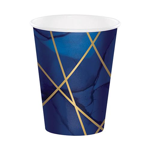 Vasos De Papel Laminado Geoda Azul Marino Y Dorado 354Ml - Paquete De 8
