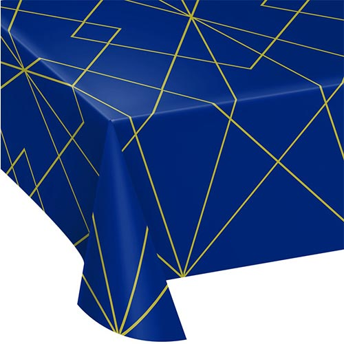 Mantel De Plástico Geoda Azul Marino Y Dorado 259Cm X 137Cm