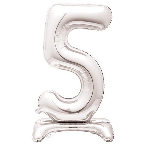 Globo Plateado De Papel De Aluminio En Forma De Número 5 Con Relleno De Aire 76Cm / 30 In