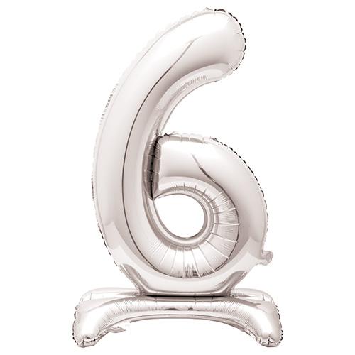 Globo Plateado De Papel De Aluminio En Forma De Número 6 Con Relleno De Aire 76Cm / 30 In