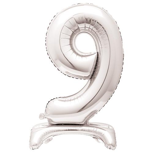 Globo Plateado De Papel De Aluminio En Forma De Número 9 Con Relleno De Aire 76Cm / 30 In
