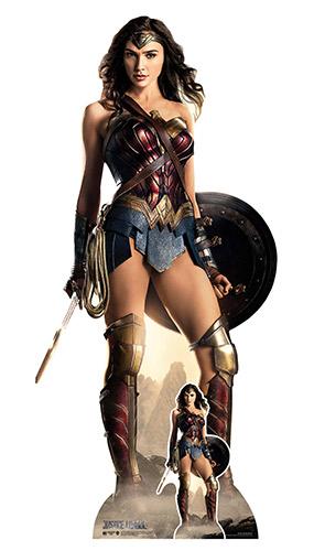 Figura De Cartón De Tamaño Natural Con Escudo De La Liga De La Justicia De Wonder Woman, 187 Cm
