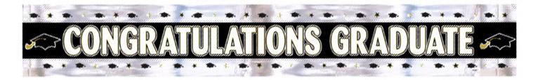 Banner De Aluminio Plateado Y Negro De Felicitaciones De 274Cm