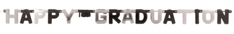 Banner De Carta De Cartón De Papel De Aluminio De Feliz Graduación Negro Y Plateado 252Cm