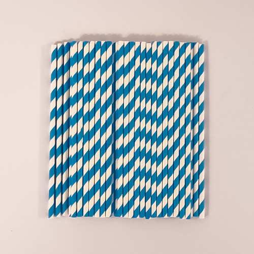 Pajitas De Papel Azul Biodegradable - Paquete De 50
