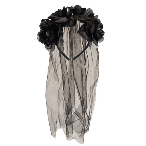 Diadema De Novia Con Flores Negras Y Velo De Disfraces De Halloween