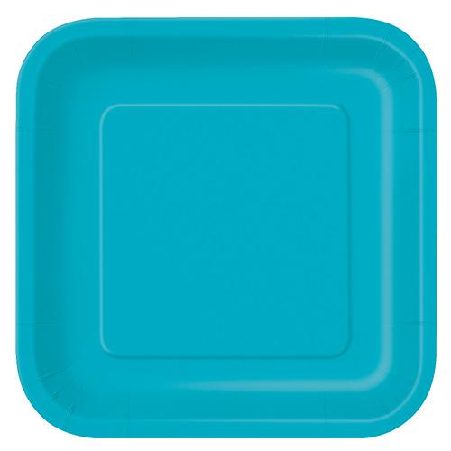 Platos De Papel Cuadrados Verde Azulado Caribeño 22Cm - Paquete De 14