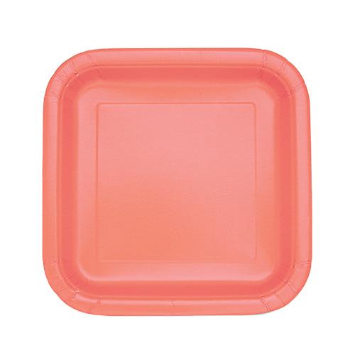 Platos De Papel Cuadrados Coral 17Cm - Paquete De 16