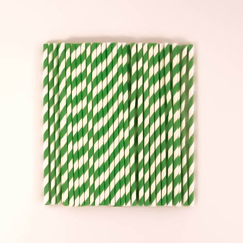 Pajitas De Papel Verde Biodegradable - Paquete De 50