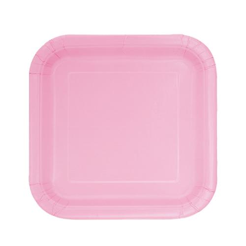 Preciosos Platos De Papel Cuadrados Rosas 17Cm - Paquete De 16