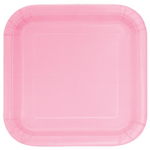 Preciosos Platos De Papel Cuadrados Rosas 22Cm - Paquete De 14