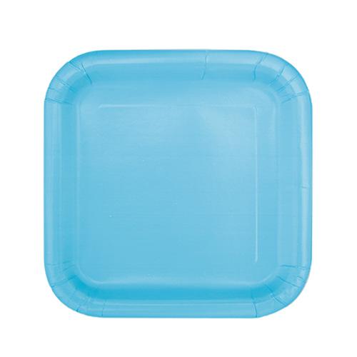Platos De Papel Cuadrados Azul Claro 17Cm - Paquete De 16