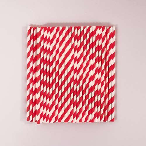 Pajitas De Papel Rojo Biodegradable - Paquete De 50