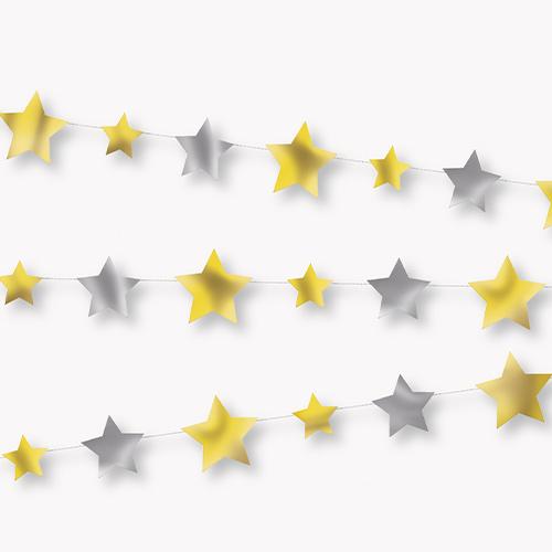 Guirnalda De Papel De Estrellas Plateada Y Dorada Decoración Colgante 274Cm