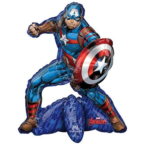 Vengadores Sentados Capitán América Relleno De Aire Globo Gigante De Lámina 66Cm