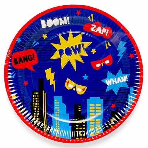 Superhero Round Paper Plates 23cm - Pack of 8