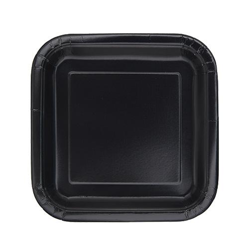 Platos De Papel Cuadrados Negros 17Cm - Paquete De 16