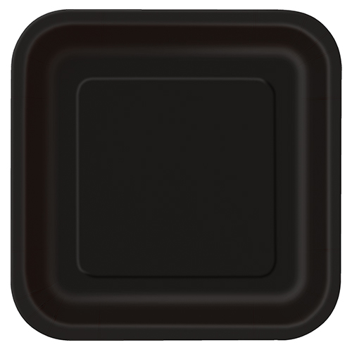 Platos De Papel Cuadrados Negros 22Cm - Paquete De 14