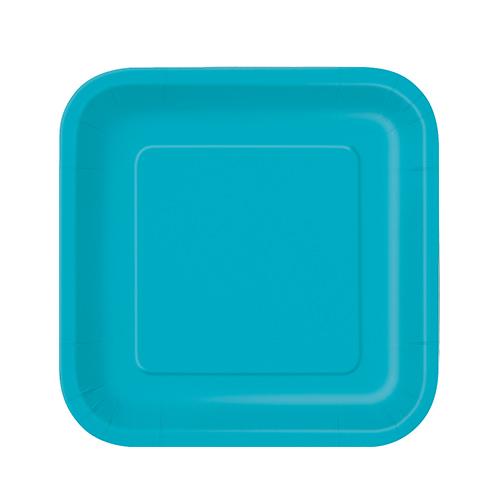 Platos De Papel Cuadrados Verde Azulado Caribeño 17Cm - Paquete De 16