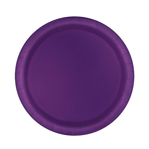 Platos De Papel Redondos Violeta Oscuro 17Cm - Paquete De 20