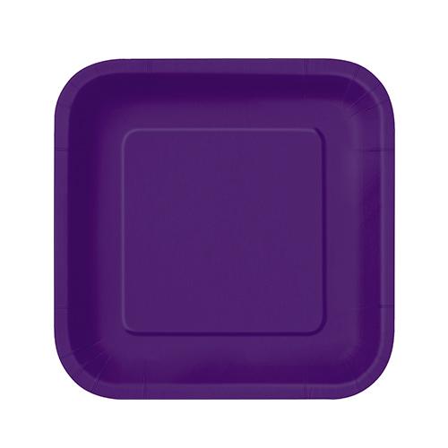 Platos De Papel Cuadrados Violeta Oscuro 17Cm - Paquete De 16