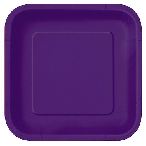 Platos De Papel Cuadrados Violeta Oscuro 22Cm - Paquete De 14