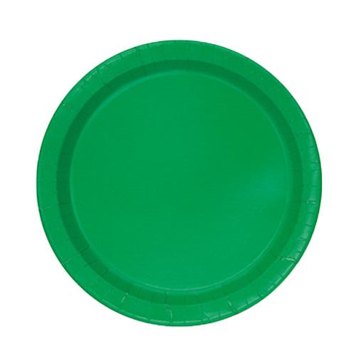 Platos De Papel Redondos Verde Esmeralda 17Cm - Paquete De 20